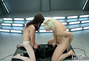 Squirting lesbians pussy toyed unconnected with tool