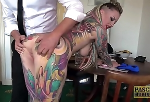 Entirely tattooed subslut piggy frowardness slammed apart from imprecise dom