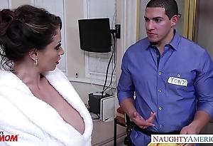 Horny mother eva notty gives titjob