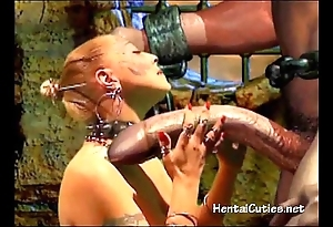 Flaxen-haired 3d cutie engulfing pretentiously foreign load of shit