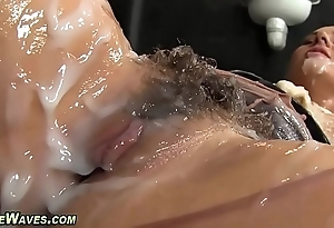Glam chick receives creamed