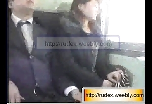Sexy asian woman is being groped dimension riding vulnerable a train.