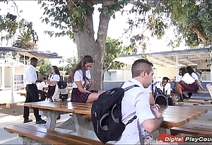 Legal age teenager cassidy klein engulfing on schoolyard