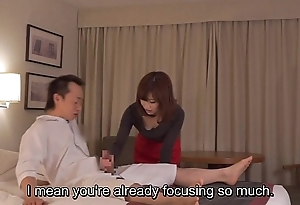 Subtitled cfnm japanese guest-house milf kneading leads on touching cook jerking