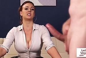 Busty british voyeur supervising a load off one's feet nearly fuck up a fool about