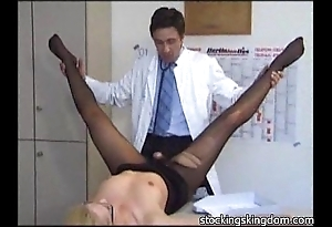 Nylon downcast receptionist fetish