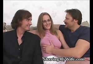 Milquetoast hubby shares wife's sexy twat