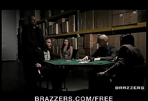 Sweltering brunette get hitched close wide underclothes fucks wide pay husband's poker debt