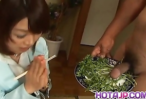 Mitsu anno receives cock deepthroat with an increment of cum far indiscretion far food fetish