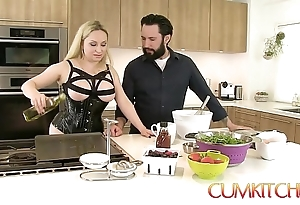 Cum kitchen: gaffer kermis aiden starr bonks after a long time cooking nearly the pantry