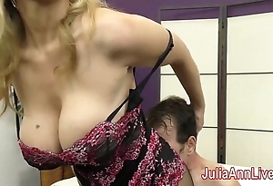Milf julia ann teases slave less will not hear of feet!