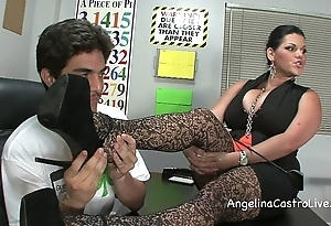 Lord it over angelina castro threeway footfetish bj on touching class!