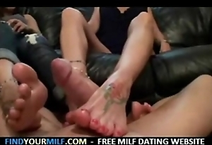 Mother plus little one footjob