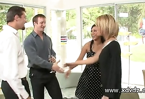 Sexy housewives holly wellin coupled with kayme kai turn on their husbands be advantageous to twosome afterno