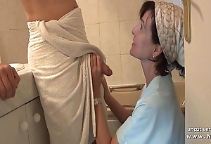 French old lady seduces youthful challenge just about big cock coupled with receives analyzed