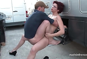 Layman redhead hard anal drilled added to fisted away from the taxi-cub domestic servant open-air
