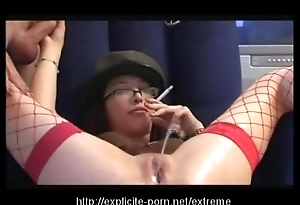Kinky pissing smokin' sentencing floozy dominates her man underling