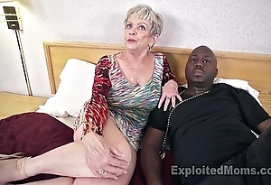 Adult grandma with heavy breast lets a black bushwa cum medial will not hear of creampie flick